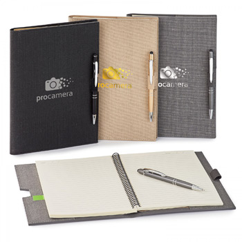 LINEN .  REFILLABLE HARD COVER JOURNAL COMBO